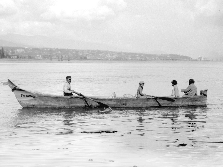 Coast Salish in a dugout canoe Burrard Inlet